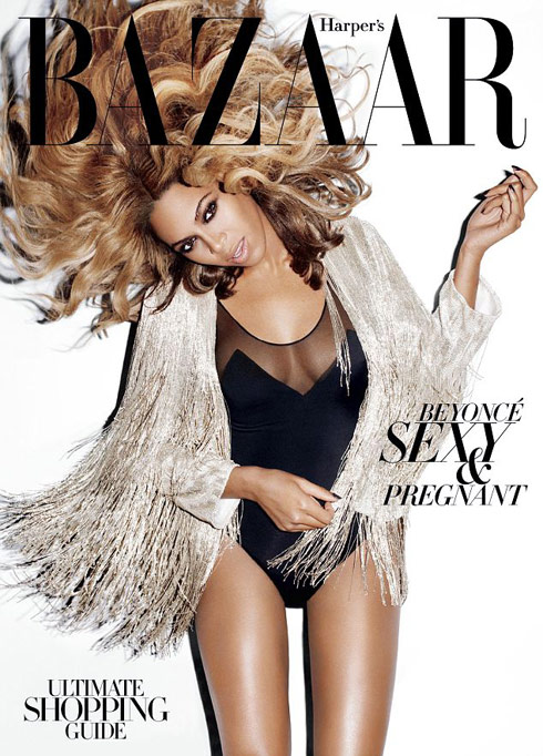 Harper's Bazaar magazinve cover with Beyonce pregnant talking about her new line of maternity wear