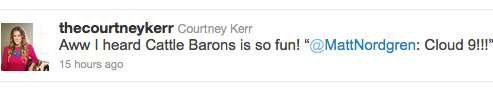 Courtney Kerr sarcastically retweets Matt Nordgren's Cloud Nine comment from Cattle Baron's Ball