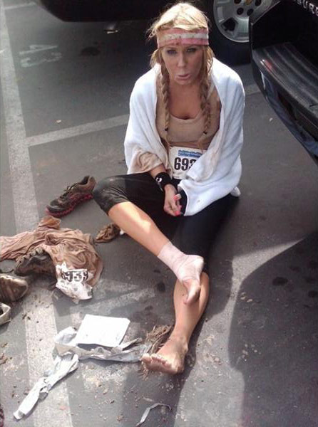 Gretchen Rossi injures her ankle at the 2011 Del Mar Mud Run