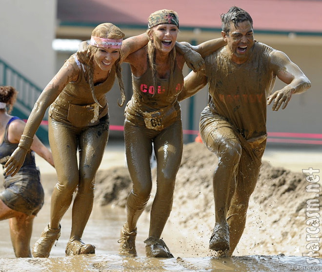 Gretchen Rossi, Tamra Barney and Eddie Judge compete in the 2011 Del Mar Mud Run