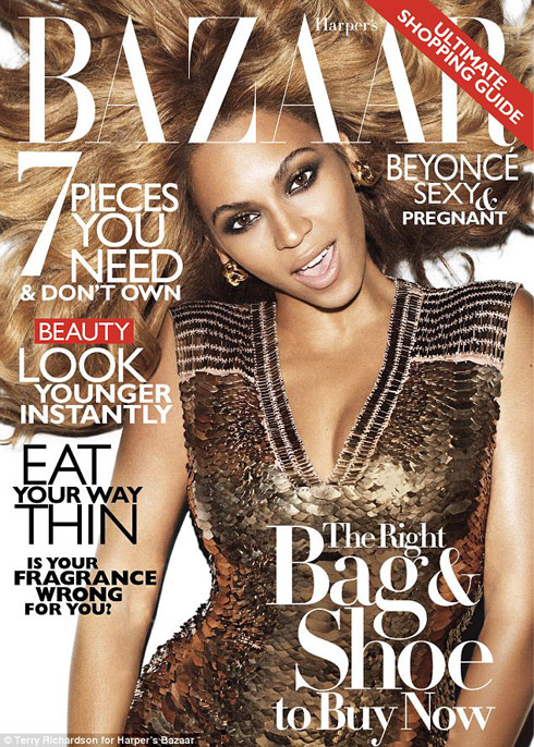 November 2011 issue of Harper's Bazaar magazine featuring a pregnant Beyonce