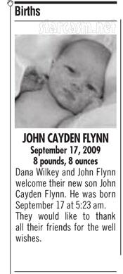Birth announcement for Dana Wilkey and John Flynn's son John Cayde Flynn JC