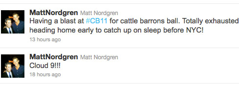 Matt Nordgren tweets about being on Cloud 9 at Cattle Barons Ball with Taylor Armstrong