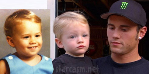 Childhood photo of Teen Mom's Ryan Edwards beside a photo of Bentley and Ryan today
