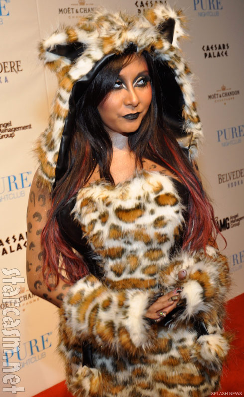 Snooki's leopard costume at Pure nightclub in Las Vegas