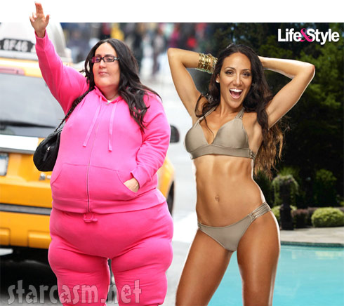 Melissa Gorga bikini photo and fat suit photo side by side