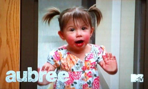 Chelsea Houska's daughter Aubree from the Teen Mom 2 Season 2 commercial