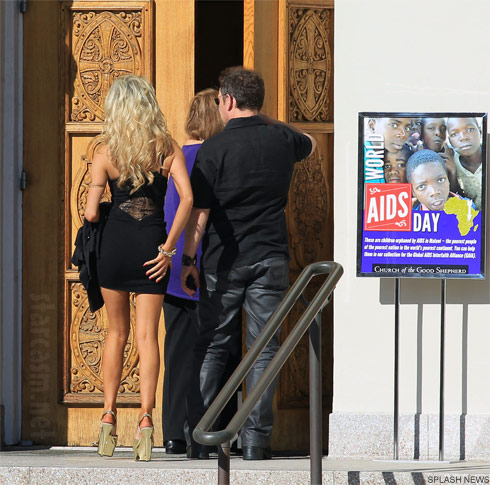 Teen bride Courtney Stodden attends church with husband Doug Hutchinson is sexy black dress