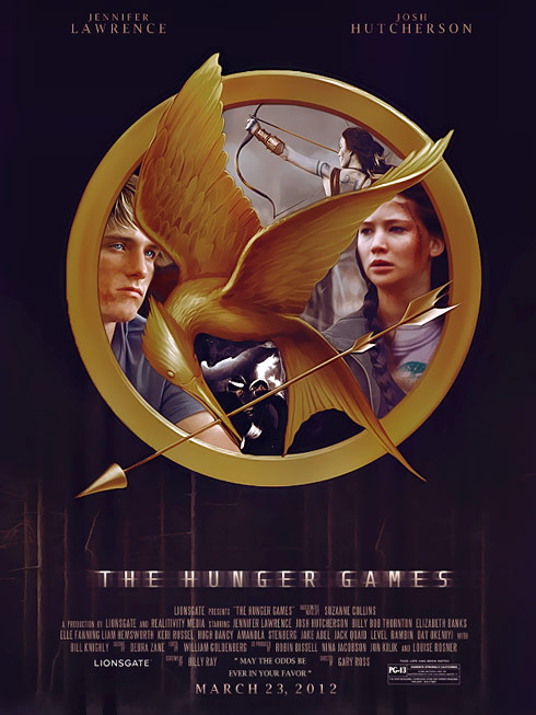 Hunger Games movie poster Katniss Everdeen Peeta Mellark Suzanne Collins