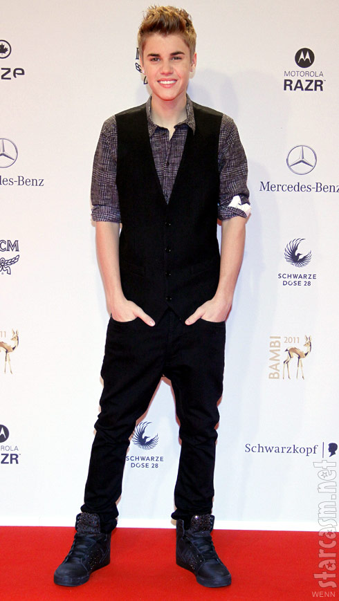 Justin Bieber on the red carpet at the 2011 BAMBI Awards in Germany