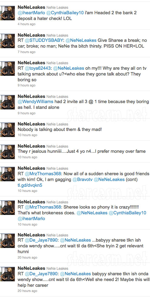 Nene Leakes attacks Sheree Whitfield, Phaedra Parks and Kandi Burress on Twitter