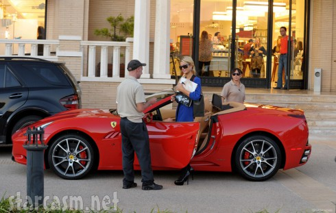 Paris Hilton in her brand new 2012 California Spyder Ferrari worth about $280,000