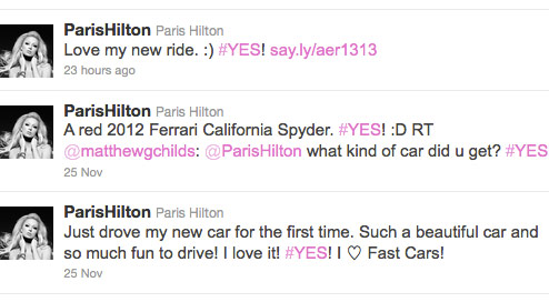 Paris Hilton tweets about her brand new red 2012 California Spyder Ferrari