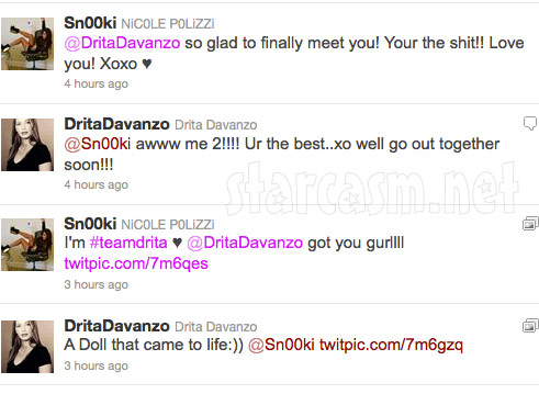Snooki and Drita D'Avanzo of Mob Wives exchange tweets