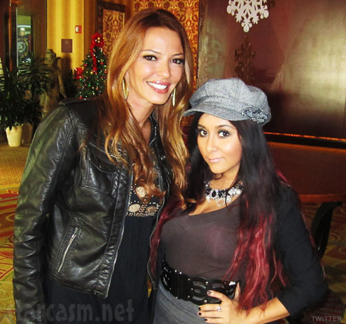 Jersey Shore's Snooki poses for a photo with Mob Wives star Drita Davanzo