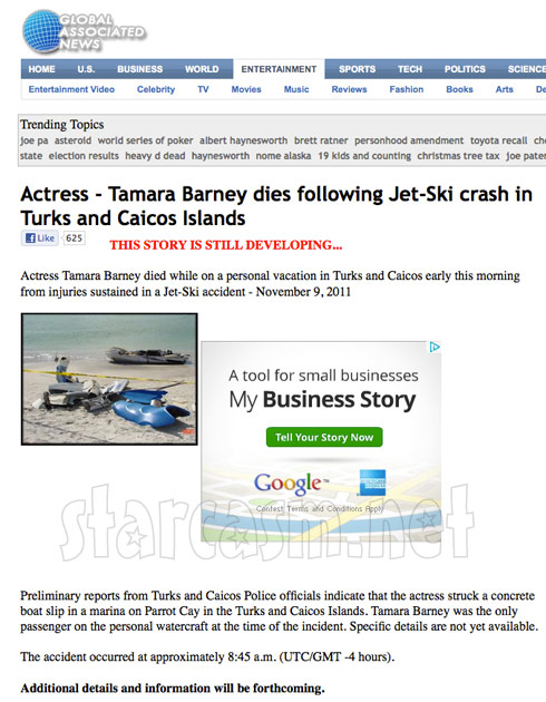 Screen cap of the original news report that Tamra Barney died in a jet ski accident in Turks and Caicos