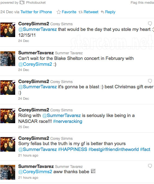 Summer Tavarez and Corey Simms exchange lovey dovey tweets on Twitter