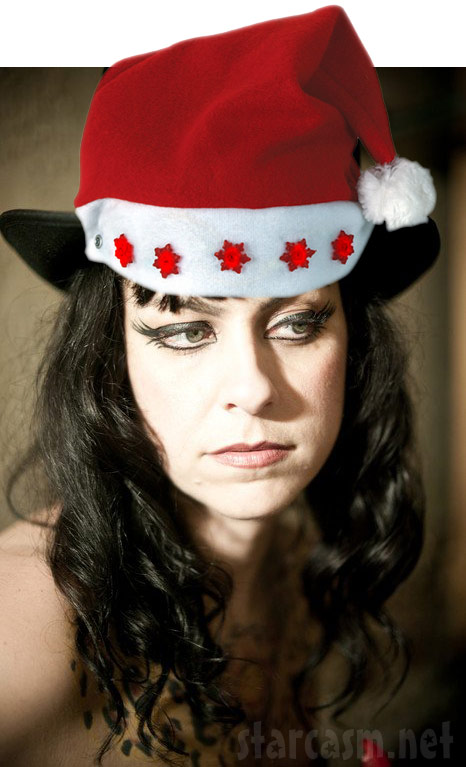 Danielle Colby Cushman from American Pickers with a Photoshopped Santa hat
