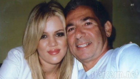 Blond teenage Khloe Kardashian with her dad Robert Kardashian