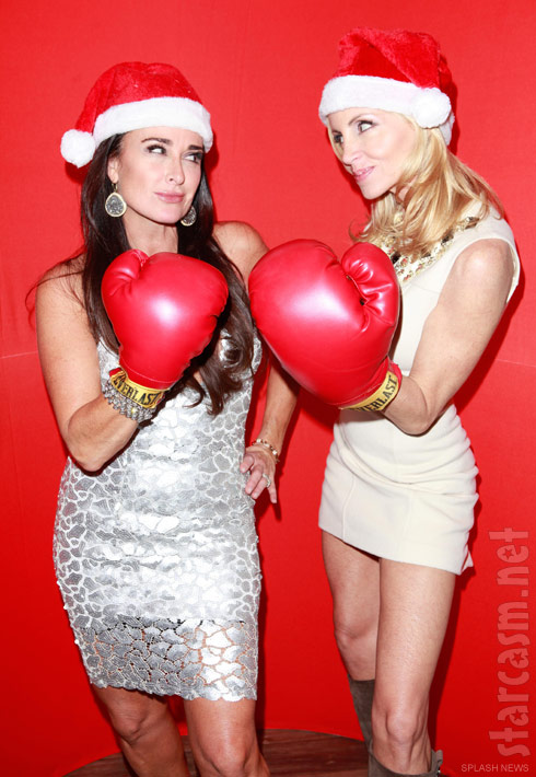 Kyle Richards poses for a funny Christmas photo with former rival Camille Grammer