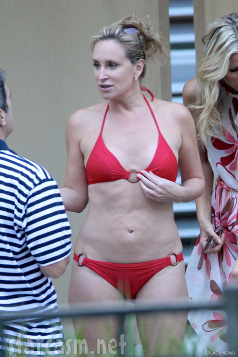 Sonja Morgan in a red bikini in Miami