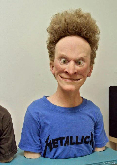 Lifelike Beavis sculpture