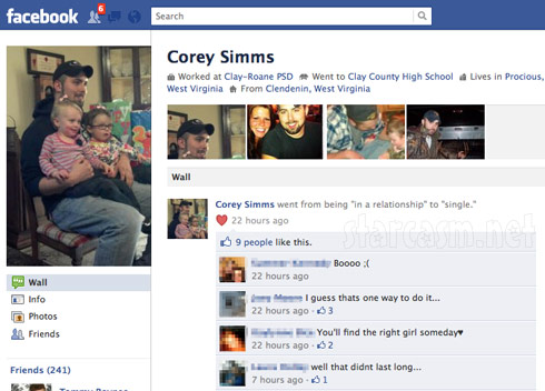 Corey Simms cahnges his Facebook relationship status to single