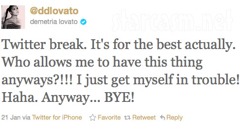 Demi Lovato announces Twitter break prior to re-entering rehab