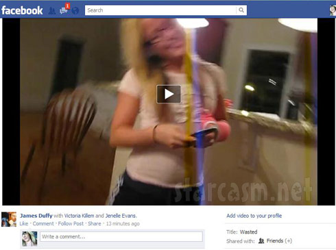 Screen cap of the video posted by James Duffy of Teen Mom Jenelle Evans