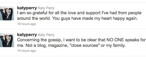 Katy Perry's agnry tweet about stories surrounding her divorce from Russell Brand