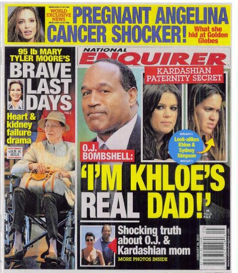 National Enquirer cover claiming O.J. Simpson is Khloe Kardashian's real dad