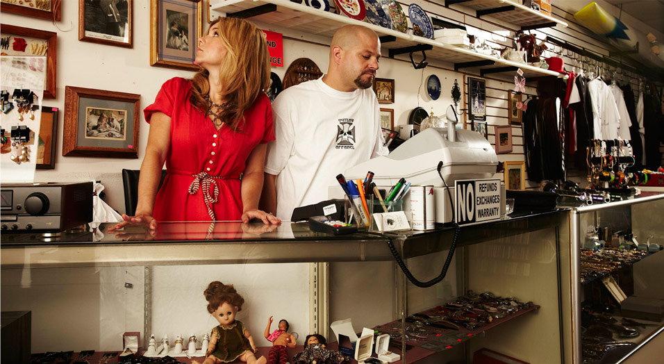Brandi and Jarrod from Storage Wars at their Now and Then Thrift Store
