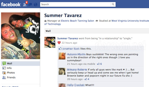 Summer Tavarez changes Facebook relationship status to single after break up with Corey Simms