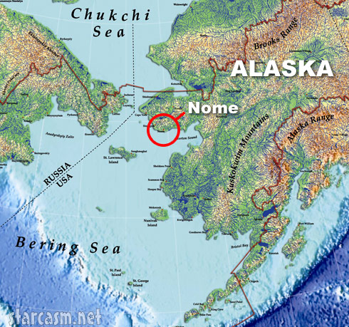 Bering Sea mining map with Nome Alaska
