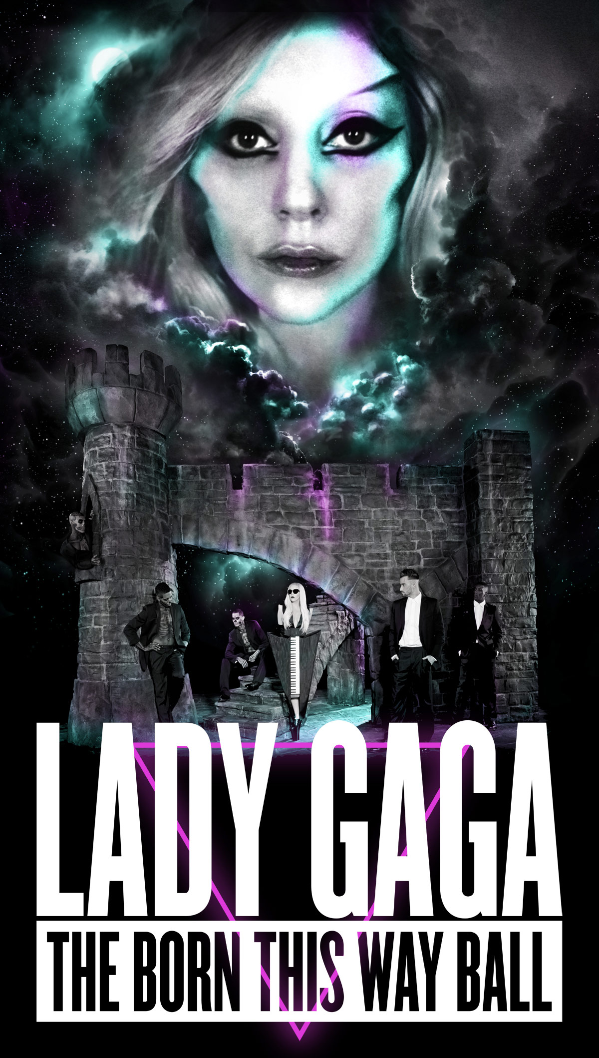 lady gaga announces born this way ball tour dates reveals poster and stage set design sketch. Black Bedroom Furniture Sets. Home Design Ideas