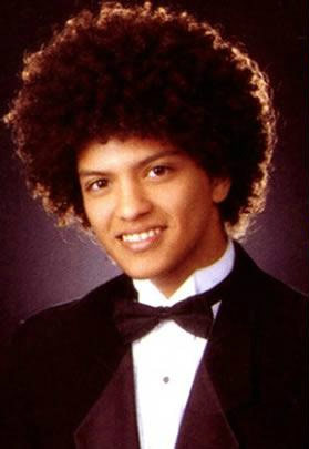 Bruno Mars high school yearbook photo with an afro