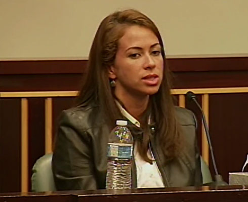 Hostage Marcela Borges on the stand