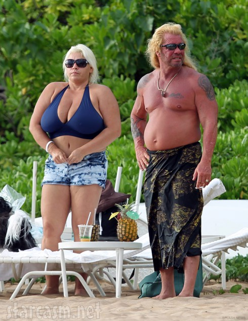 Beth Chapman in a bikini and Dog the Bounty Hunter shirtless in Hawaii
