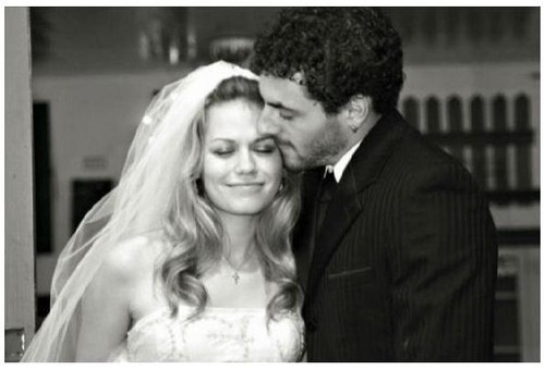 husband Michael Galeotti and wife actress Bethany Joy Lenz on their wedding day