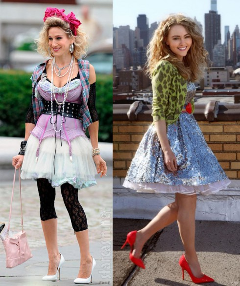 Sarah Jessica Parker and AnnaSophia Robb as Carrie Bradshaw side by side 1980s pictures