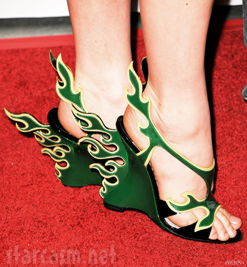 Fergie green flame St. Patrick's Day shoes