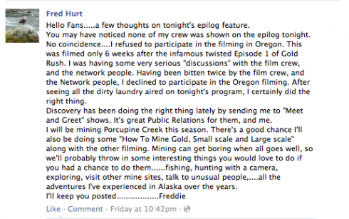 Dakota Fred Hurt Facebook message
