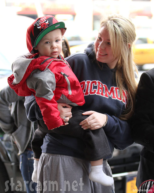 Kailyn Lowell holds son Isaac in New York City