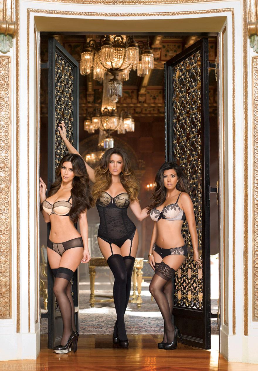 ... Kourtney and Kim Kardashian model lingerie for Kardashian Kollection