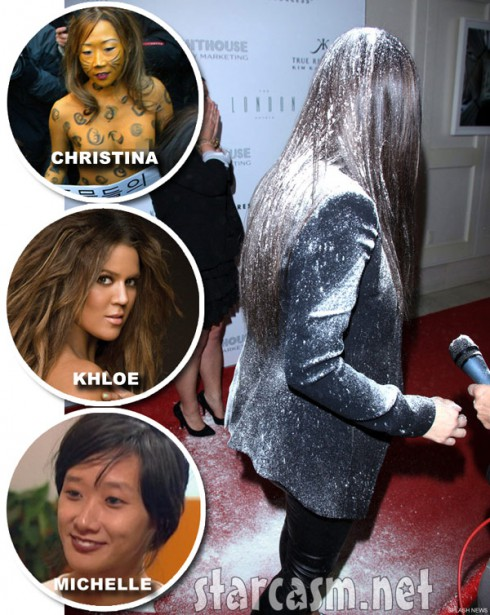 Kim Kardashian flour bomb scandal with Khloe Christina Cho and Michelle Cho