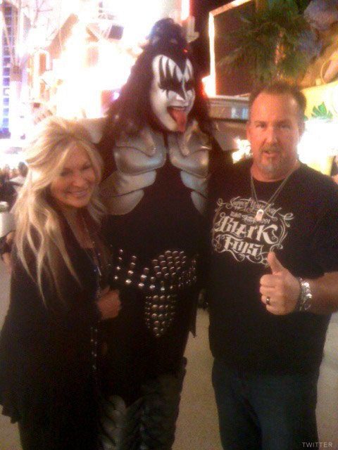Storage Wars Darrell Sheets, fiancee Kimber Wuerfel and Gene Simmons of Kiss