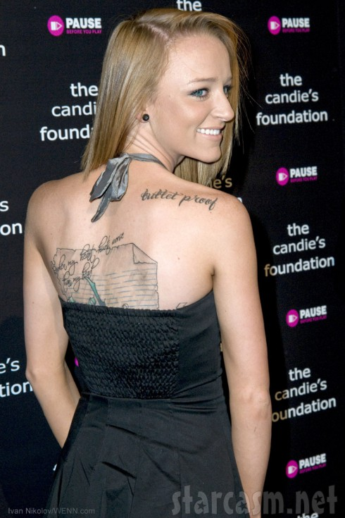 MAci Bookout back tattoo at the Candie's Foundation 6th Annual 'Event to Prevent' Benefit