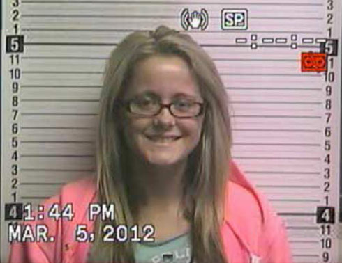 Jenelle Evans mugshot photo for cyberstalking arrest March 5 2012