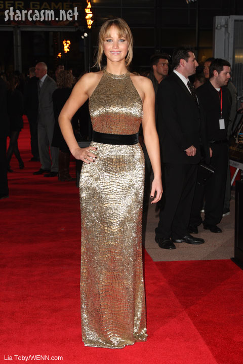 Jennifer Lawrence Katniss hunger games gold gown Lond