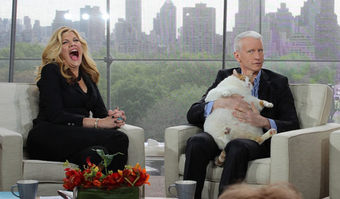 Anderson Cooper side-eye with Meow the Cat